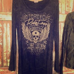 Edgy fringed black skull speedway classic legends